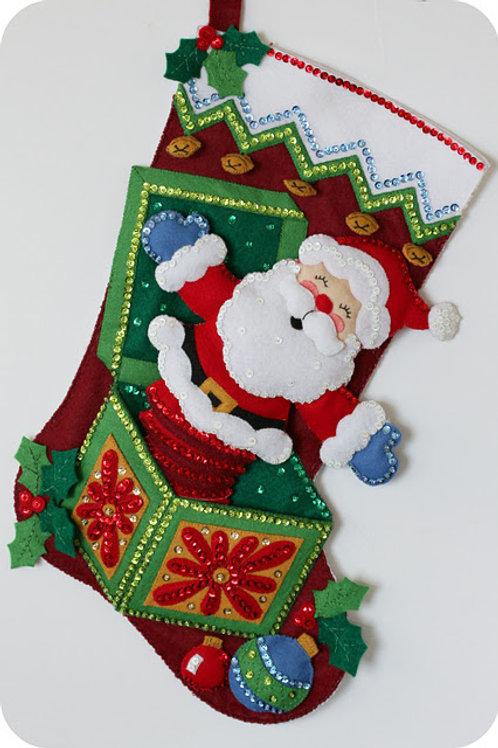 Pop-Up Santa Felt Stocking Kit by Bucilla Plaid
