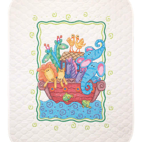 Noah's Ark Quilt Stamped Cross Stitch Baby Quilt Kit