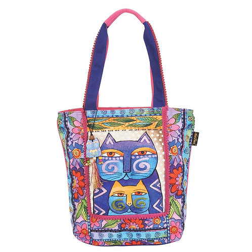 Stacked Feline Cats with Flowers Handbag Purse by Laurel Burch