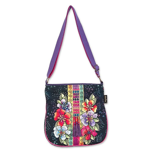Floral Stamps Crossbody Tote By Laurel Burch