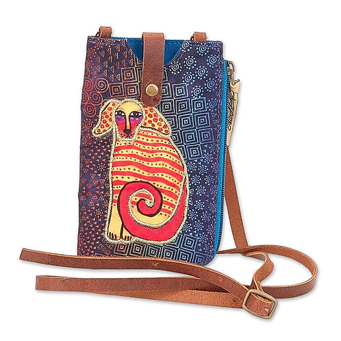 Delightful Doggie Phone with Zip Pocket Crossbody Bag By Laurel Burch
