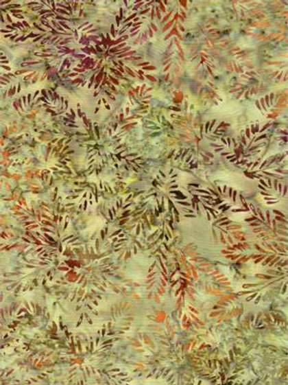 Bali Batik Soft Olive Green with Leaves 1M X 1Y