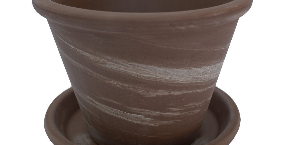 "8"" Brushed Tan/Beige Terra Cotta Pot With Saucer"