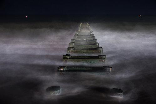 Long Exposure-Waves At Night
