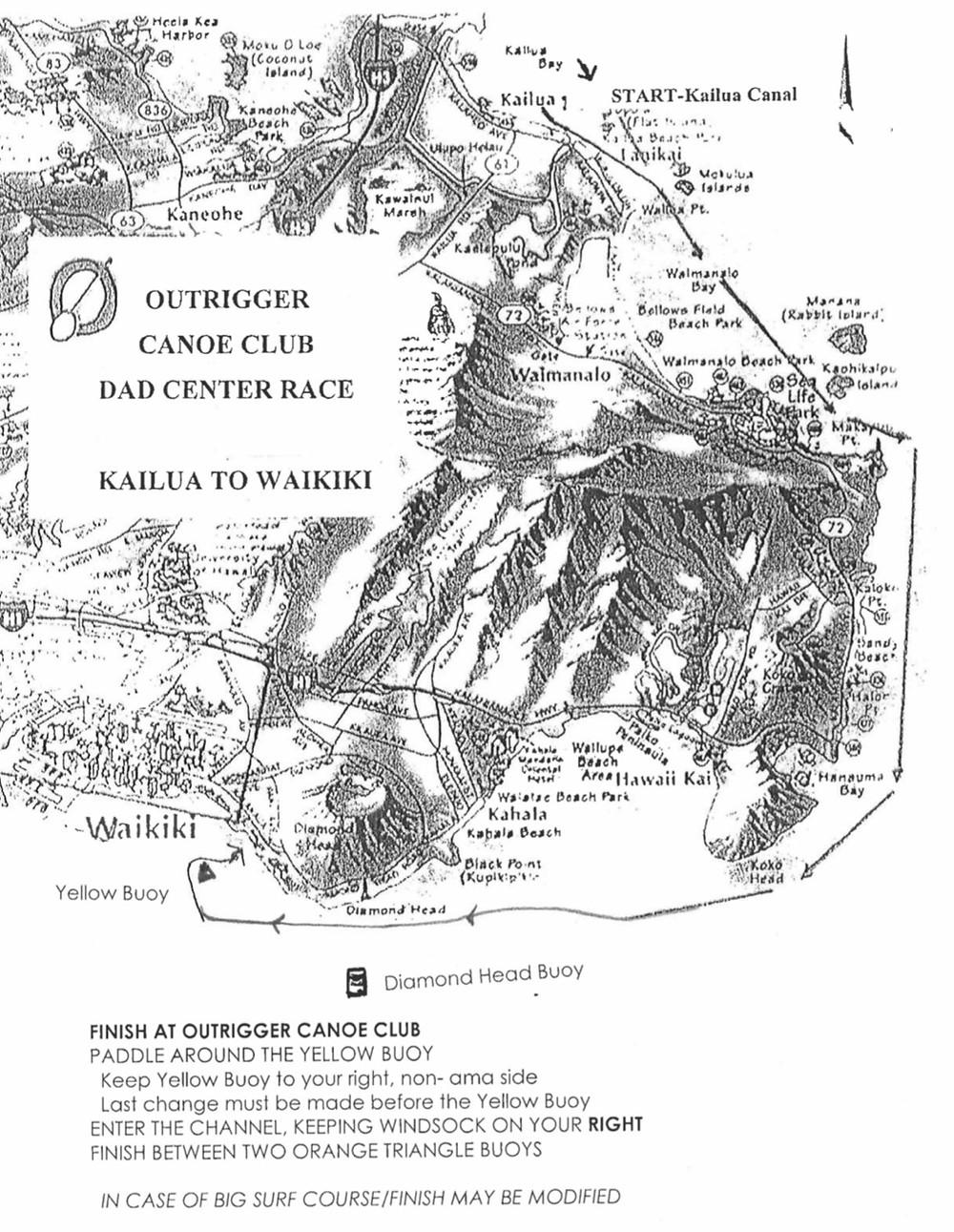 Outrigger Canoe Club - DAD Center Race - Kailua to Waikiki Map