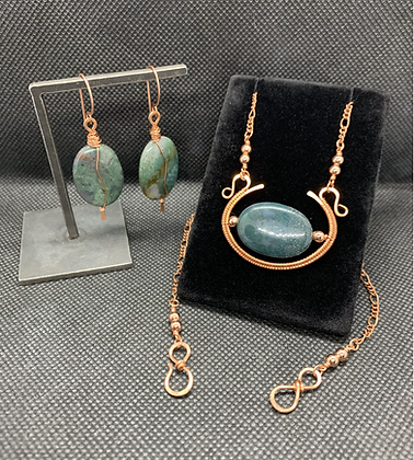 Moss Agate Winged Sun Disk Jewelry Set