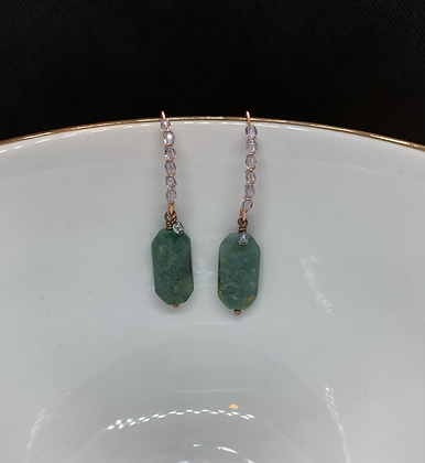 Moss Agate, Swarovski Crystal, and Copper Threader Earrings