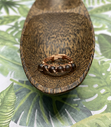 Matte Smoky Quartz and Copper Stackable Ring   Size 8.5