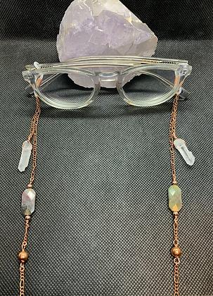 Moss Agate, Quartz, and Copper Eyeglass Chain | Mask Chain