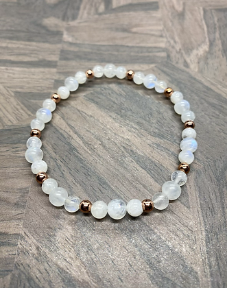 Rainbow Moonstone & Copper Stretchy Bracelet
