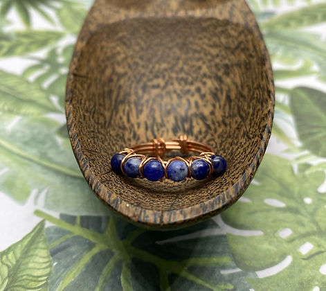 Sodalite and Copper Stackable Ring | Size 9