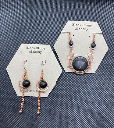 Shungite Orb Earrings and Sun Disk Amulet Jewelry Set