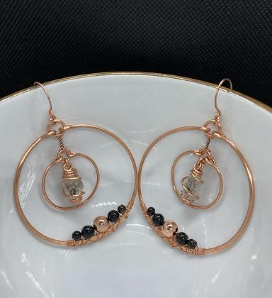 Herkimer Diamond and Obsidian Orbit Hoop Earrings
