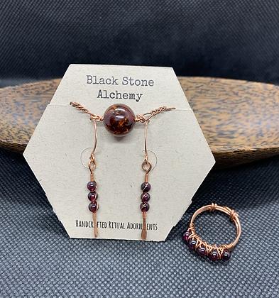 Garnet and Copper Jewelry Set