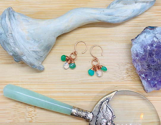Chrysoprase and Rose Quartz Tear Drop Cluster Earrings