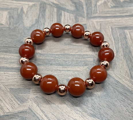 Carnelian & Copper Stretchy Bracelet
