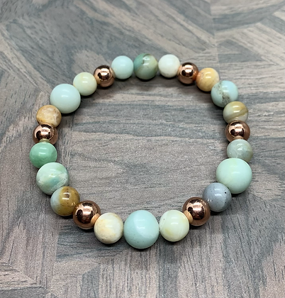Amazonite and Copper Stretchy Bracelet