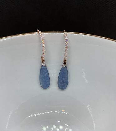 Blue Kyanite, Swarovski Crystal, and Copper Threader Earrings