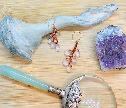 Rose Quartz Tear Drop Cluster Earrings