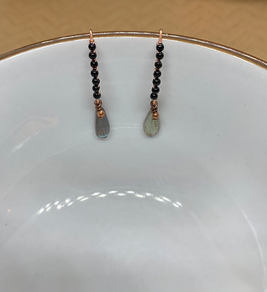 Black Tourmaline and Labradorite Copper Threader Earrings