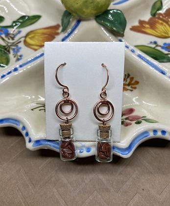 Goldstone Chip Filled Bottle Earrings