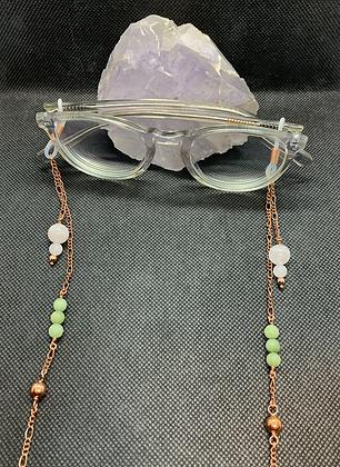 Rose Quartz, Jade, and Copper Eyeglass Chain | Mask Chain