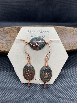 Garnet and Copper Spiral Jewelry Set