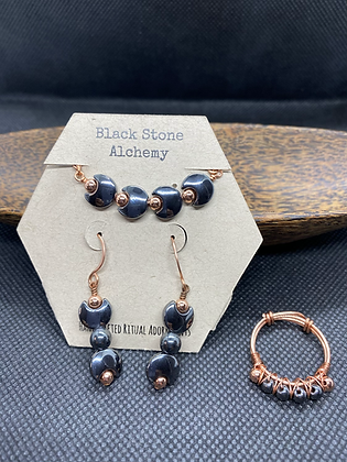 Hematite and Copper Jewelry Set