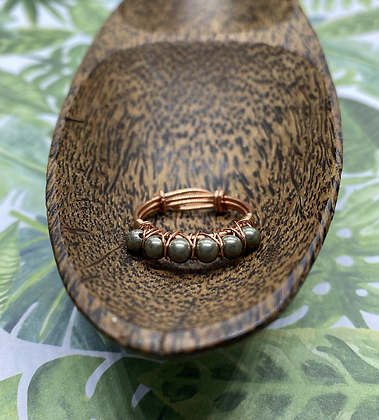 Pyrite and Copper Stackable Ring | Size 9.5