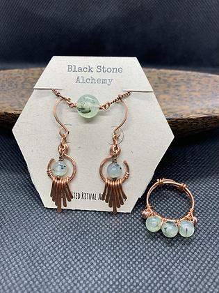 Prehnite and Copper Jewelry Set