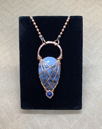 Faceted Dendritic Opal and Sodalite Amulet