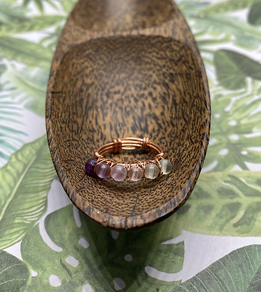 Matte Fluorite & Copper Stackable Ring | Size 8