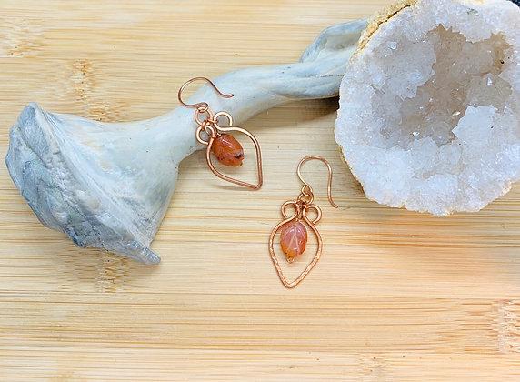 Carnelian Leaves and Copper Earrings