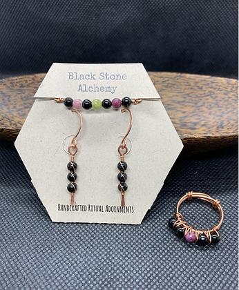 Tourmaline and Copper Jewelry Set