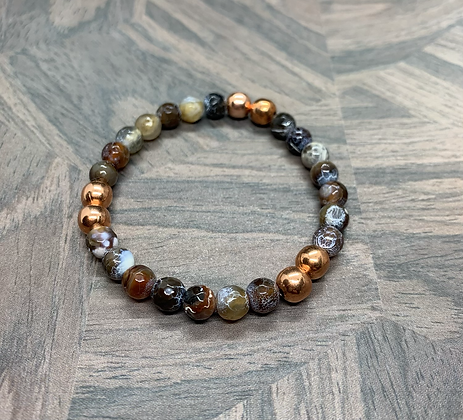 Faceted Fire Crackle Agate Stretchy Bracelet