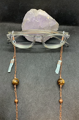 Blue Kyanite, Tigers Eye, and Copper Eyeglass Chain | Mask Chain
