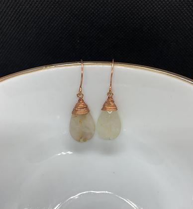 Rutilated Quartz and Copper Tear Drop Earrings