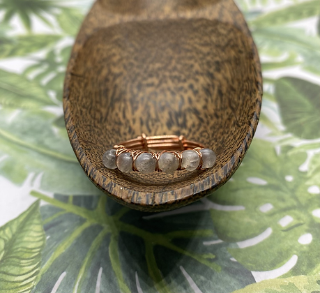 Matte Labradorite and Copper Stackable Ring | Size 9.5