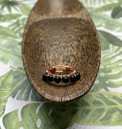 Onyx and Copper Stackable Ring   Size 4.5