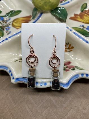Garnet Chip Filled Bottle Earrings