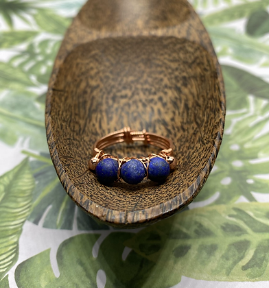 Matte Lapis Lazuli and Copper Stackable Ring | Size 12
