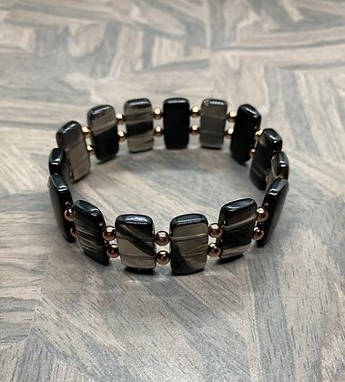 Ice Obsidian & Copper Stretchy Bracelet