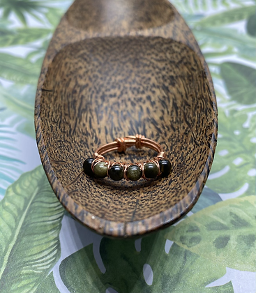 Obsidian and Copper Stackable Ring   Size 7