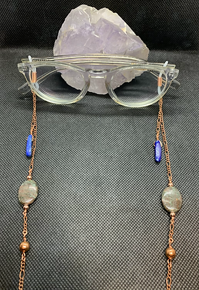 Lapis Lazuli, Garnet, and Copper Eyeglass Chain   Mask Chain