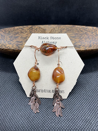 Amber and Copper Leaf Jewelry Set
