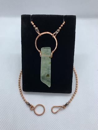 Prehnite and Copper Minimalist Pendant