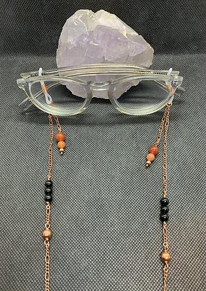 Carnelian, Obsidian, and Copper Eyeglass Chain   Mask Chain