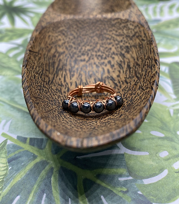 Hematite and Copper Stackable Ring | Size 7