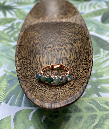 Moss Agate and Copper Stackable Ring | Size 8