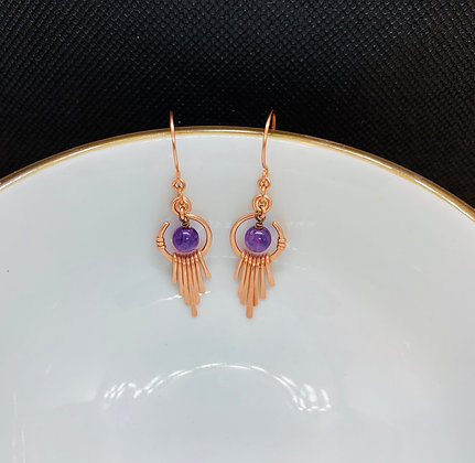 Amethyst and Hammered Copper Earrings